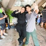 Jeeja hanging with Iko Uwais on the set of Triple Threat