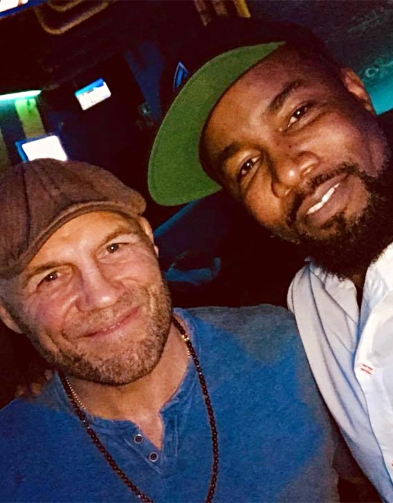 Mike with UFC legend Randy Couture on set of The Hard Way!