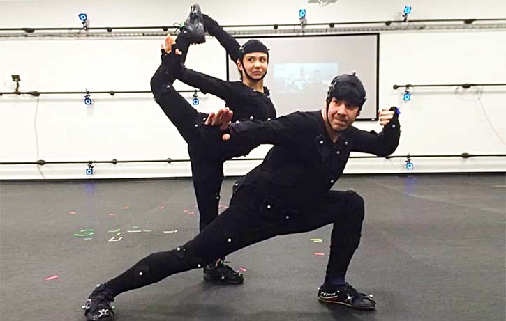 Ever-ready Mindy doing mocap