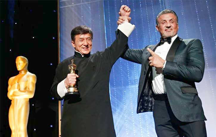 Finally receiving an Academy Award from his good friend Sylvester Stallone