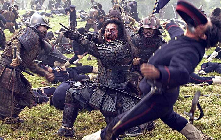 Ujio shows the soldiers how to fight like samurai