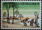 世界の楽しいクリスマスの切手と世界のクリスマスツリーの寫真