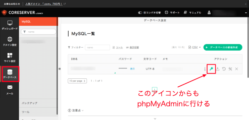 コアサーバーMySQL一覧 phpMyAdminアイコン