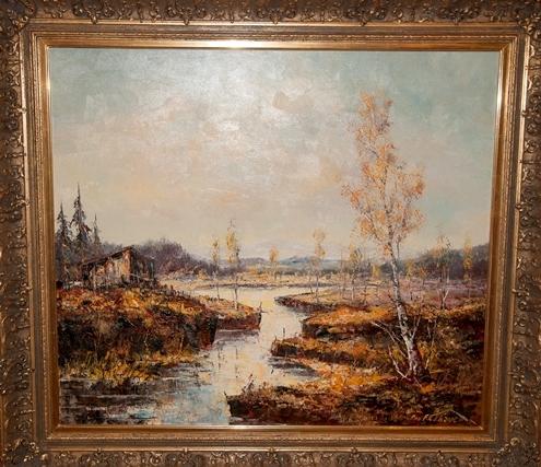 Torfstich im Rosenheimer Moor F K Thauer  Die Kunst und Antiquittenbrse