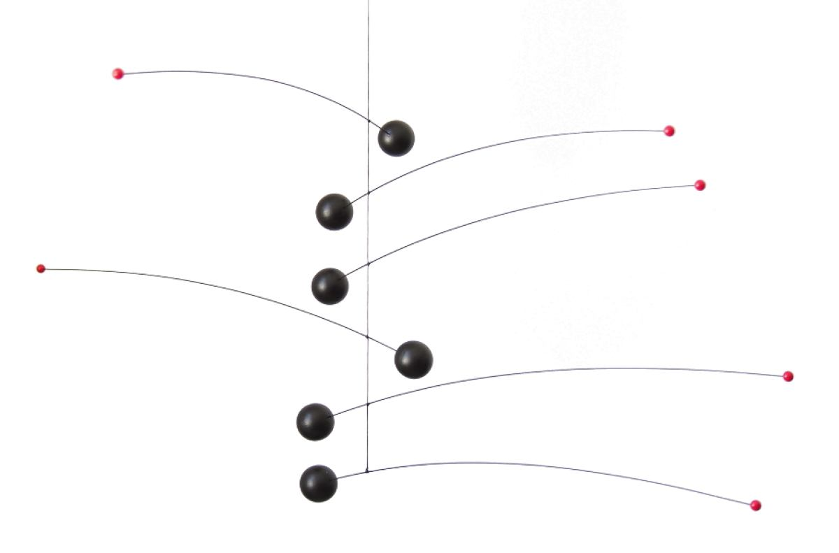 Mobile Futura Black With Two Coloured Wooden Balls 35 X