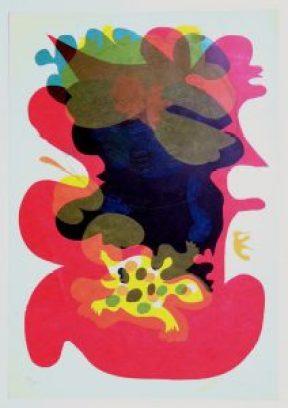 Moog , Pitt KS 361 1932 Kempfenbrunn, Stud KH KasselProf FHDortmund, Brilon o.T. Grafik, Siebdruck 1973 43x30   x organisch florale Stilisierung mit stilisierter Schildkröte unten,  B, Tier