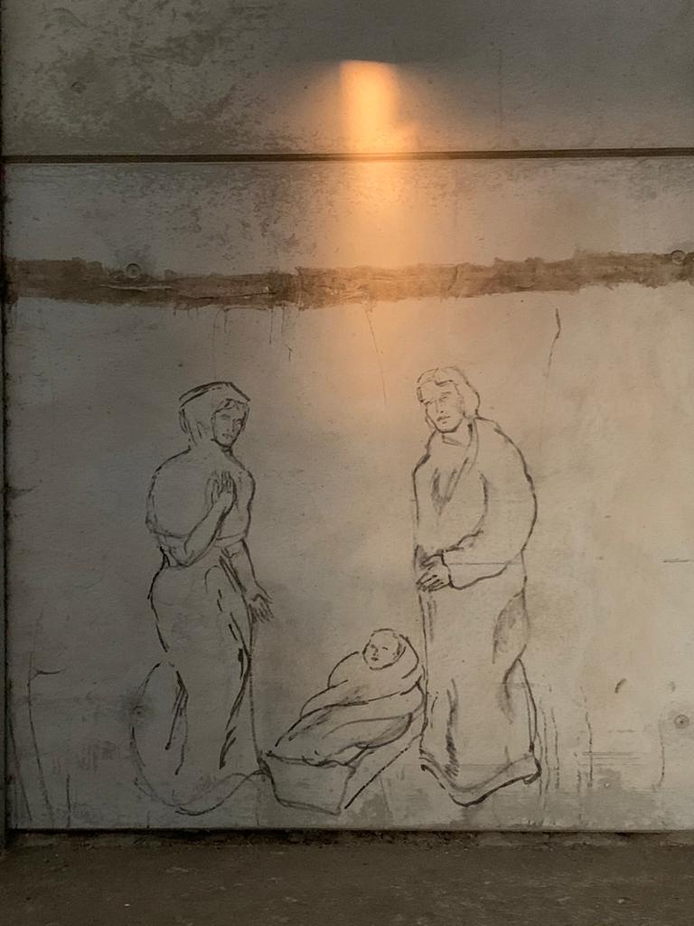 Lichtreflektion über der Arbeitsskizze von Johannes Caspersen