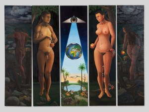 "5-tlgs. Ölgemälde ""Garten Eden"", Rudolf E. Voigt, spätes 20. JH"