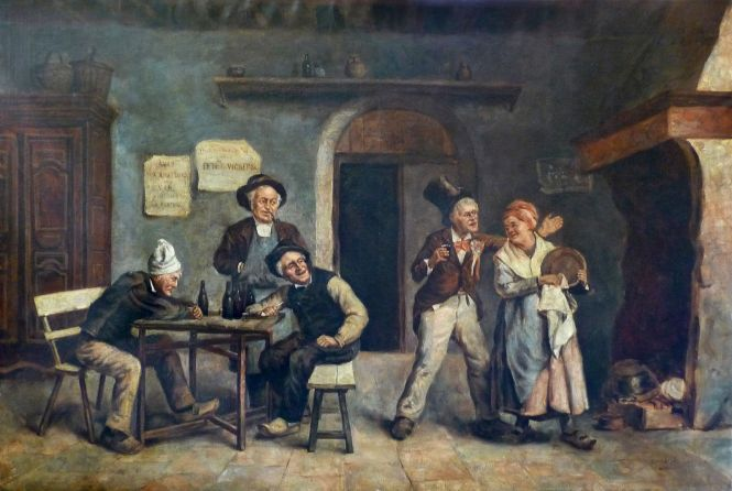 """Léon CORTHALS (Belgien 1877-1935) """"In der Wirtschaft"""", signiert,"""