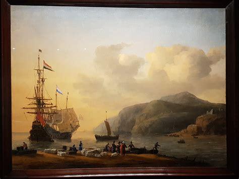 Nederlandse schepen drijven handel aan de kunst van een land aan de Middellandse zee. (1656 - Reinier Nooms
