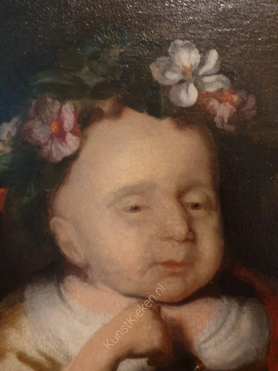 Detail Portret van een overleden kind- Nicolaes Maes
