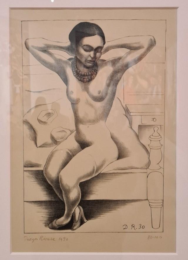 Naakt met kralenketting Frida Kahlo - 1930 - Diego Rivera