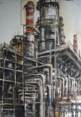 3. Raffineria; 80x120; Mixed technique on iron