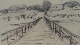 Bernhard Heisig Orginal Zeichnung Kohle Landschaft 19x29 cm