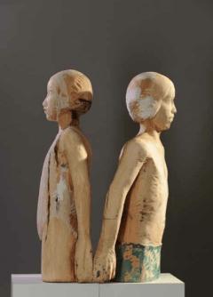 Carlo Leopold von Broschewitz, Mädchen, Junge, Holz, Höhe je 110 cm
