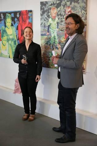 Künstlerin Alena Steinlechner und Galerist Jürgen Leibig