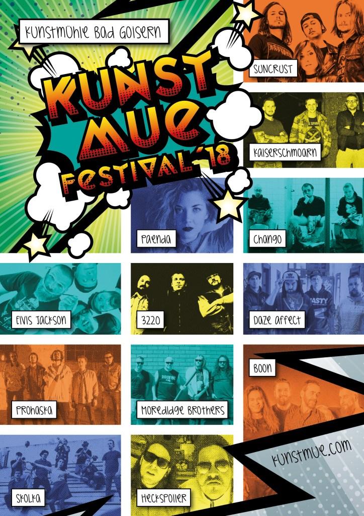 Kunstmue Festival 2018 Web Plakat mit Lineup