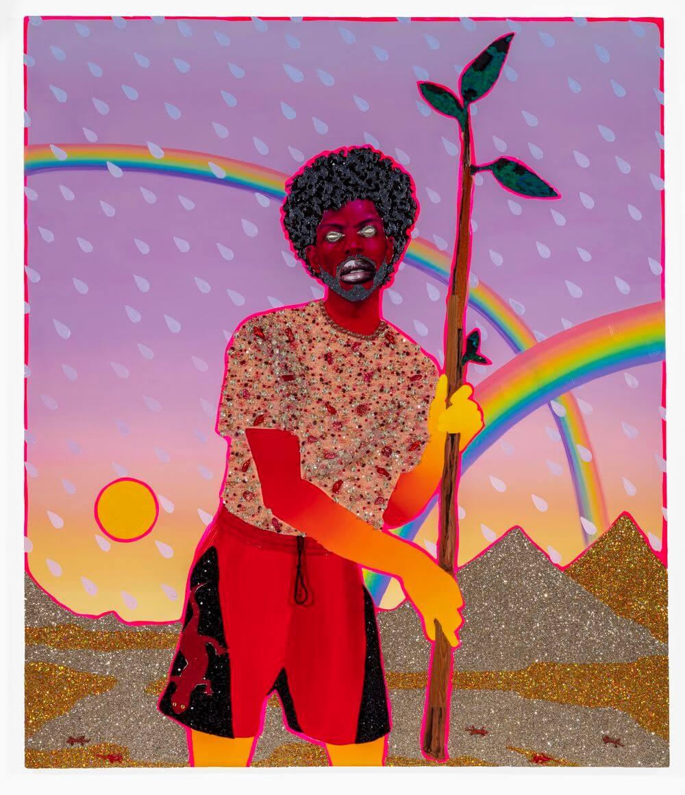 """Devan Shimoyama, """"Page of Wands"""", 2020, Öl, Farbstift, Collage, Pailletten, Perlenstoff, Glitzer, Schmuck, Spielzeugsalamander und Flashe auf Leinwand, 213,36 x 162,56 cm, Courtesy the artist, Foto: Tom Little"""