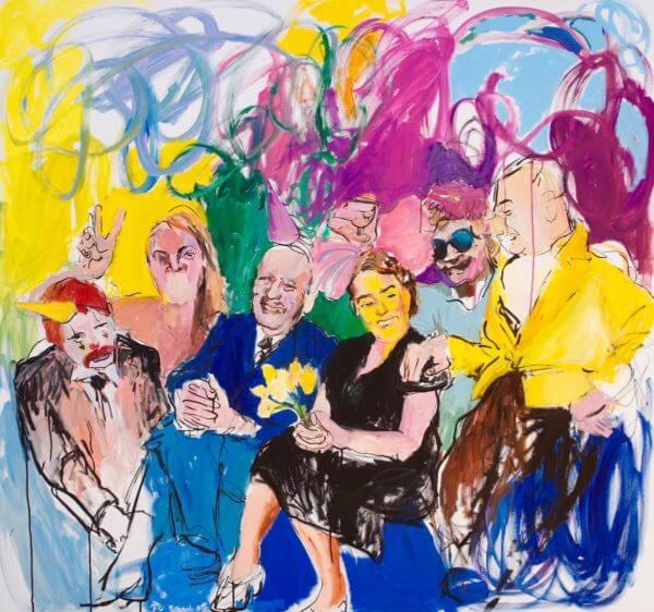 """Janina C. Brügel: Auf Ihren Stirnen Hat Gelber Schein Alle Gedanken Verdrängt From the series """"People at night"""" 2015 – Acryl and ink on canvas – 140 x 150 cm"""