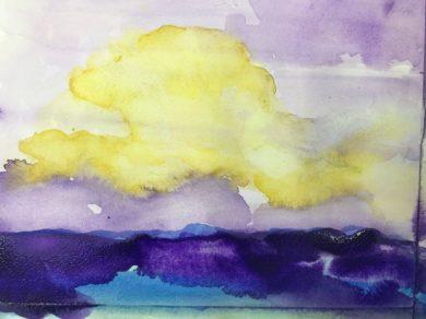 Aquarel-oefening door mij, geïnspireerd door werk van Nolde