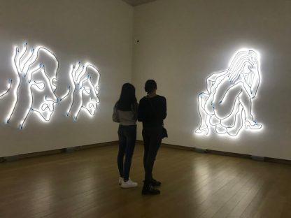 Peep show, neonlicht, Amorales