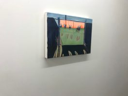 Sjaak Kooij, Enter the Zone, oil, acrylics, spray paint on linen, 35 x 50 cm.