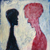 Hester Van Dapperen, De onzichtbare grens, rood / zwart. Acryl en olie op linnen met borduur van gekleurd raffia