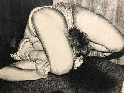 Le contorsionniste (slangenmens) Myriam Mechita Grafiet op papier