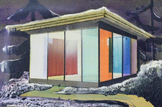 Toon Berghahn pavilion, 2020,gemengde techniek op hout, 20 x 30,5 cm