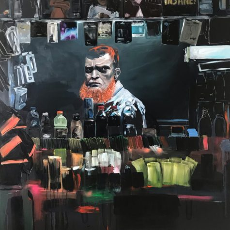 Sjaak Kooij, Kiosk, 150 x 150 cm. Acrylic spray-ain't and oil paint on linen