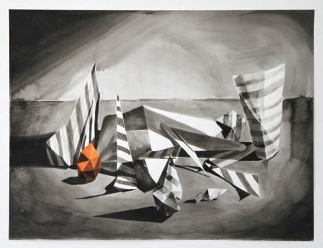 Lenneke van der Goot, Nest Reconstructed, 58,5 x 77 cm, inkt, gouache, pastel en collage op papier, 2021