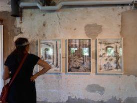 Werk van Casper Johansson in Not Quite tentoonstellingsruimte in oude papierfabriek. Zweden.