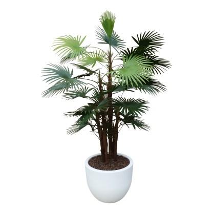 Kunstplant Rhapis palm met sierpot Eggy35 wit - kunstplantshop.nl