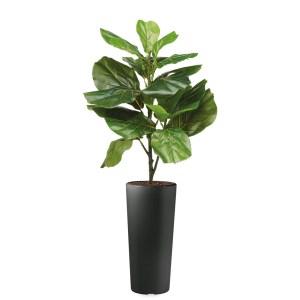 HTT - Kunstplant Ficus Lyrata in Clou rond antraciet H115 cm - kunstplantshop.nl