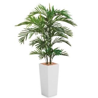 HTT - Kunstplant Areca palm in Clou vierkant wit H185 cm - kunstplantshop.nl