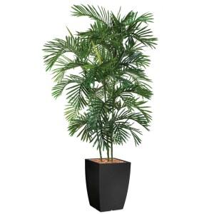 HTT - Kunstplant Areca palm in Genesis vierkant antraciet H210 cm - kunstplantshop.nl