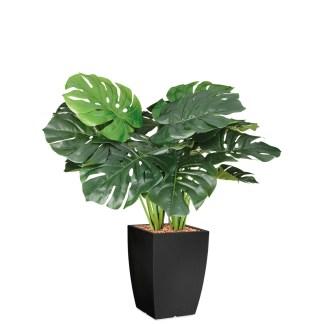 HTT - Kunstplant Monstera in Genesis vierkant antraciet H90 cm - kunstplantshop.nl