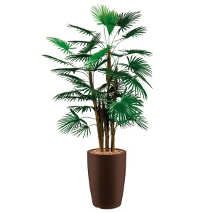 HTT - Kunstplant Rhapis palm in Genesis rond bruin H150 cm - kunstplantshop.nl