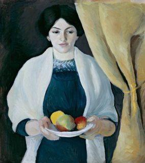 August Macke, Porträt mit Äpfeln (Elisabeth mit Äpfeln), 1909 Städtische Galerie im Lenbachhaus und Kunstbau, München