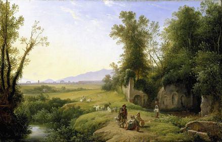 Franz Ludwig Catel (1778–1856) Die Grotte der Egeria, um 1835 Öl auf Leinwand, 40 x 62,5 cm Hamburger Kunsthalle © Hamburger Kunsthalle/bpk Photo: Elke Walford