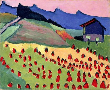 Gabriele Münter, Landschaft mit Hütte im Abendrot, 1908, © 2016, ProLitteris, Zürich
