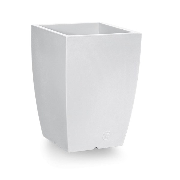 VECA - Bloempot Genesis, vierkant, H60 cm, wit - kunststofbloempot.nl