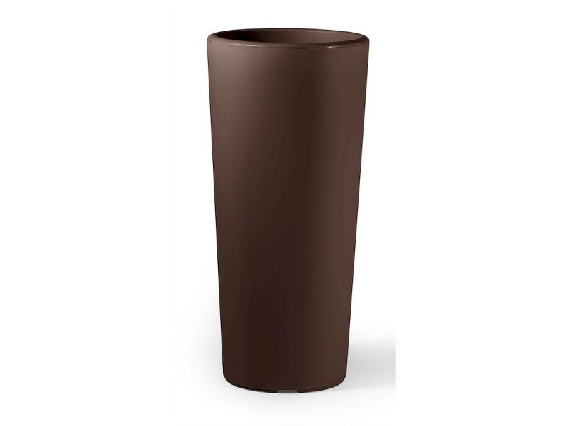 VECA - Bloempot Clou, rond, H85 cm, bruin - kunststofbloempot.nl