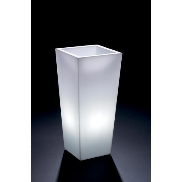 VECA - verlichte bloempot Genesis, vierkant, H85 cm - kunststofbloempot.nl
