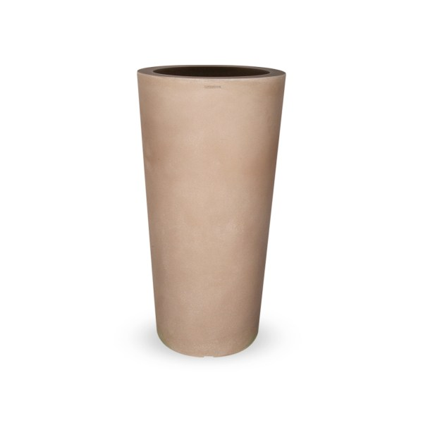 PLASTECNIC - Bloempot Tan Vaso Tondo Alto, H96 cm, taupe - kunststofbloempot.nl