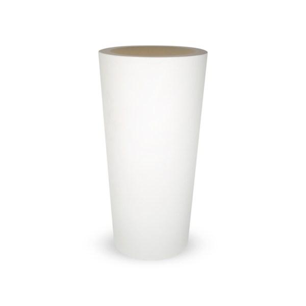 PLASTECNIC - Bloempot Tan Vaso Tondo Alto, rond, H96 cm, wit - kunststofbloempot.nl