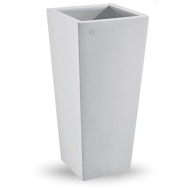 VECA - Bloempot Genesis, vierkant, H85 cm, wit - kunststofbloempot.nl