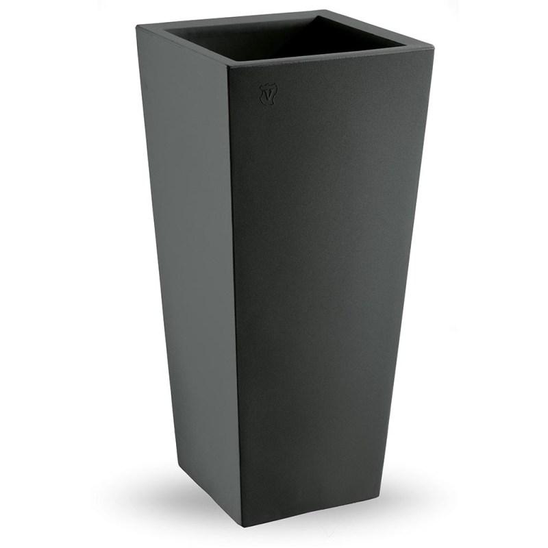 VECA - Bloempot Genesis, vierkant, H85 cm, antraciet - kunststofbloempot.nl