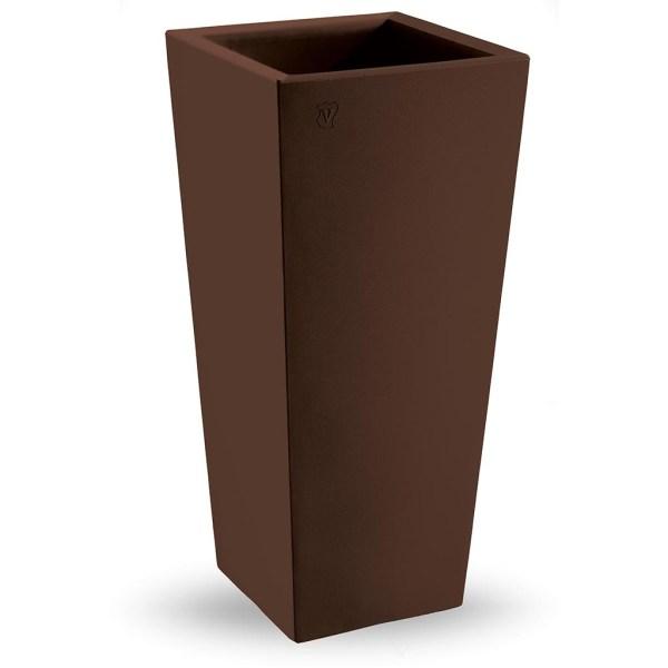 VECA - Bloempot Genesis, vierkant, H100 cm, bruin - kunststofbloempot.nl