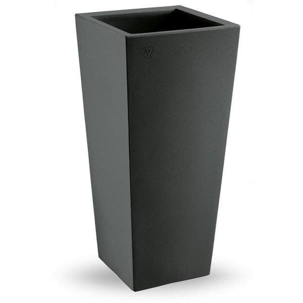 VECA - Bloempot Genesis, vierkant, H100 cm, antraciet - kunststofbloempot.nl